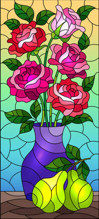 Illustration in stained glass style with floral still life, vase with a bouquet of pink roses and pears on a blue background Vecteurs