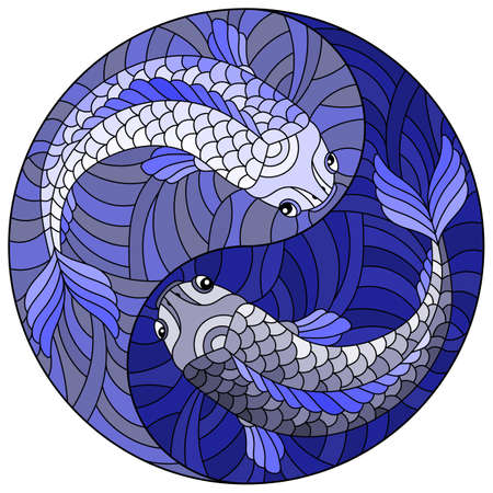 Illustration in stained glass style with two fishes in the form of the Yin Yang sign, round image, tone blue