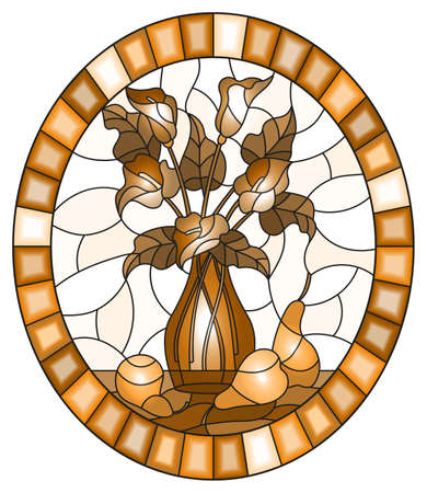 Illustration in stained glass style with bouquets of Calla lilies flowers in a vase and pears on table on light background, oval image in frame, tone brown