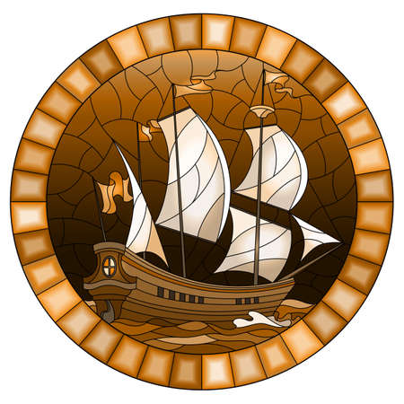 Illustration in stained glass style with an old ship sailing sails against the sea and sky, oval image in a oval frame, monochrome, tone brown