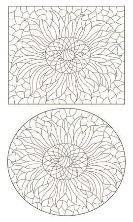 Set of contour illustrations in stained glass style with sunflower flowers, dark outlines on a white background Çizim