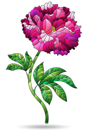 A stained glass illustration with an abstract pink peony flower, isolated on a white background