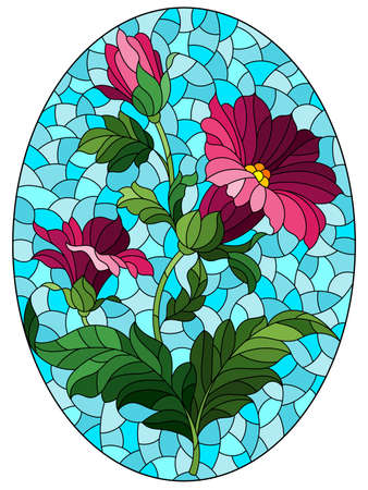 Illustration in stained glass style with pink flowers on a blue sky background, rectangular image