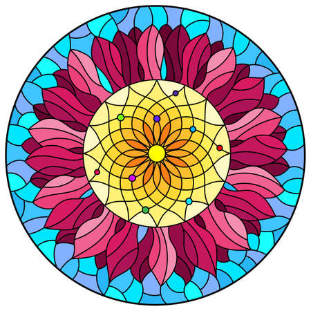 Illustration in stained glass style with bright flower on a blue sky background, oval image Çizim