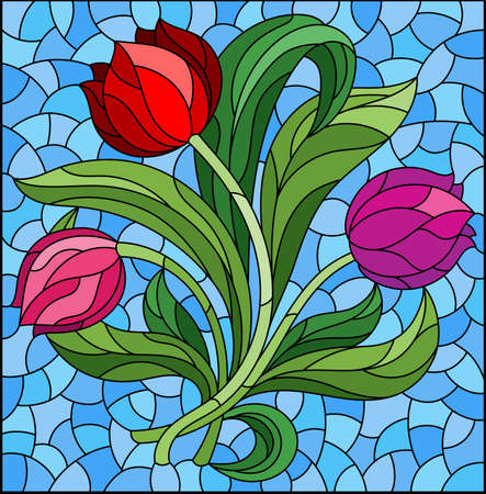 Illustration in the stained glass style with a floral arrangement of tulip flowers on a blue background, rectangular image
