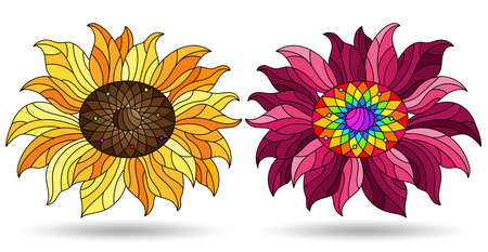 Set of illustrations in a stained glass style with bright flowers, flowers isolated on a white background Çizim
