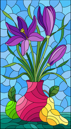 Illustration in stained glass style with floral still life, vase with a bouquet of purple flowersin a vase and fruit on a blue sky background