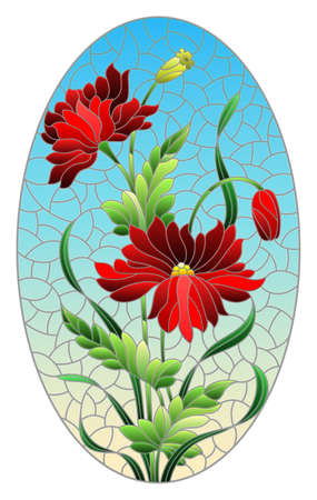 Illustration in stained glass style with red poppies flowers on a blue sky background, oval image Çizim