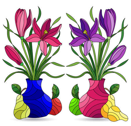Set of illustrations in the stained glass style with floral still lifes and fruits, compositions isolated on a white background