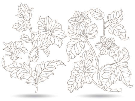 Set of contour illustrations in stained glass style with abstract flowers, dark outlines isolated on a white background Çizim