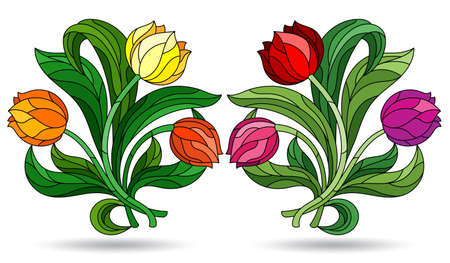 Set of illustrations in a stained glass style with bright tulip flowers, flowers isolated on a white background