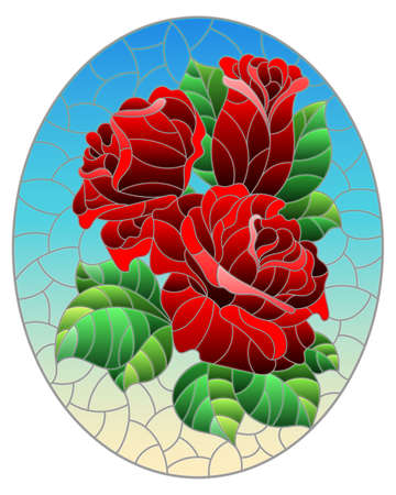 Illustration in stained glass style with a bright red rose flowers on a blue background, oval image