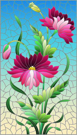 Illustration in stained glass style with pink poppies flowers on a blue sky background, rectangular image