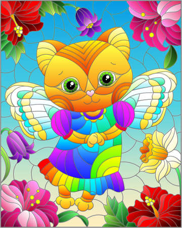 Illustration in a stained glass style with an abstract fairy cat, against a background of bright flowers and a blue sky