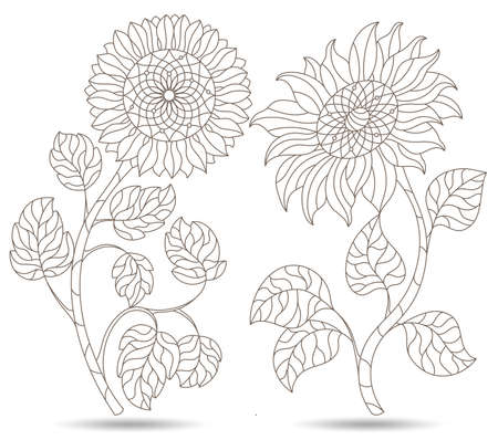 Set of contour illustrations in stained glass style with sunflower flowers, dark outlines isolated on a white background
