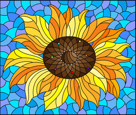 Illustration in stained glass style with sunflower flower on a blue sky background, rectangular image Çizim