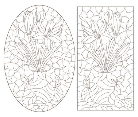 A set of contour illustrations in a stained glass style with floral still lifes and fruits, dark outlines on a white background