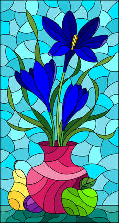 Illustration in stained glass style with floral still life, a bouquet of blue flowers in a vase and fruit on a blue sky background
