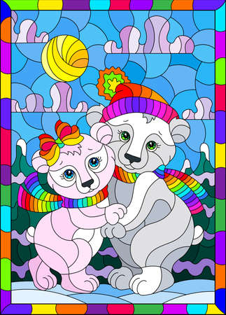 Stained glass illustration with a pair of cute cartoon polar bears against a winter landscape, a rectangular image in a bright frame Векторная Иллюстрация