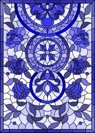 Illustration in stained glass style with abstract flowers, swirls and leaves on a light background, vertical orientation, tone blue