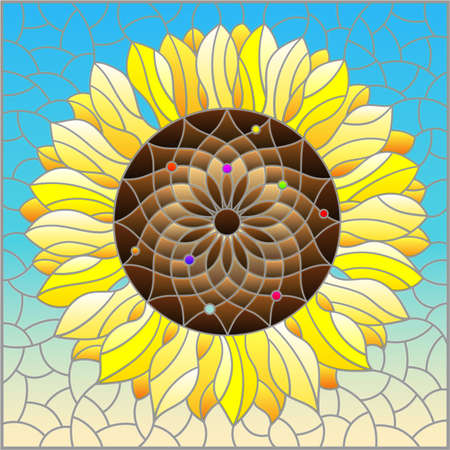 Illustration in stained glass style with sunflower flower on a blue sky background, rectangular image Vetores