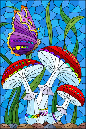 Illustration in the style of a stained glass window with bright mushrooms, grass and a butterfly on a blue background, rectangular image