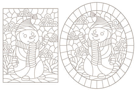 Set of contour illustrations of stained glass Windows on the theme of winter holidays with snowmans, dark outlines on a white background Ilustracje wektorowe