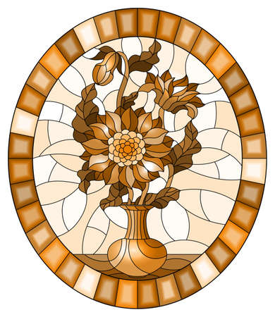 Illustration in stained glass style with floral still life, a bouquet of asters in a vase on a ight background, oval image in a bright frame, tone brown