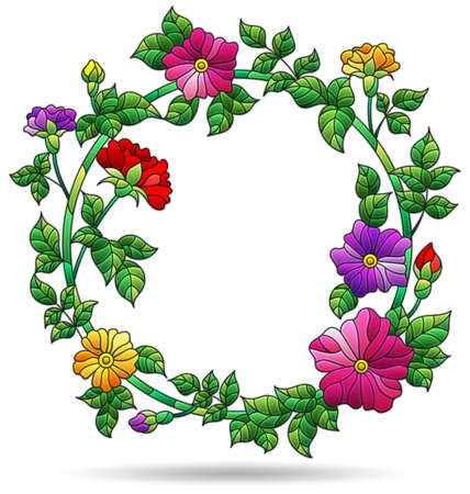 Illustrations in stained glass style with flower wreath, flower frames isolated on a white background
