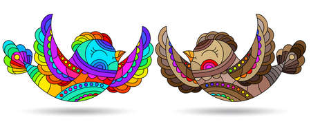 Set of illustrations in a stained glass style with bright birds, animals isolated on a white background 일러스트