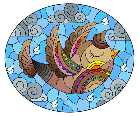 Illustration in the style of a stained glass window with a bright bird on a background of blue sky and clouds, oval image