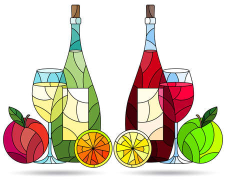 Set of contour illustrations in the style of stained glass with compositions of wine and fruit, dark outlines on a white background