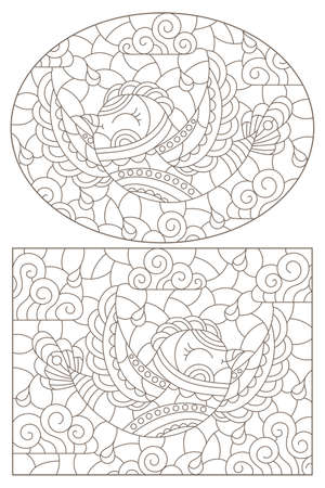 Set of contour illustrations in stained glass style with cute birds on a cloudy sky background, dark outlines on a white background