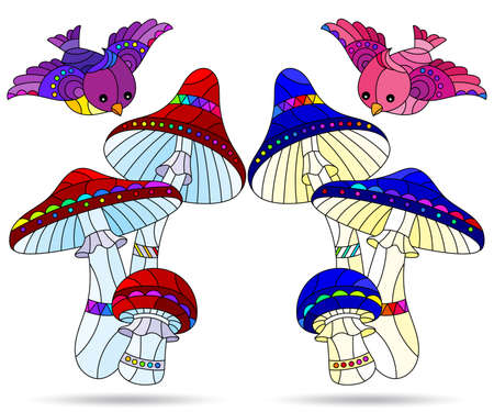Set of illustrations in the style of stained glass with mushroom compositions and birds, mushrooms isolated on a white background 일러스트
