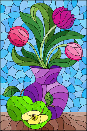 Illustration in a stained glass style with a floral still life, a vase with bright tulips, and apples on a blue background, rectangular illustration