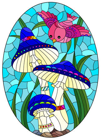 Illustration in the style of a stained glass window with bright mushrooms, grass and a burd on a blue background, oval image 일러스트