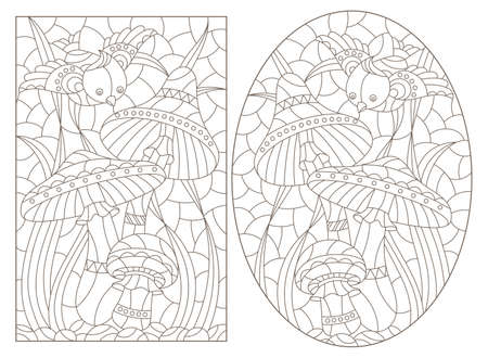Set of contour illustrations in the style of a stained glass window with mushrooms and a butterfly, dark outlines on a white background