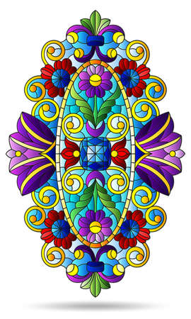 Illustration in the style of a stained glass window with an abstract floral element, the composition is isolated on a white background