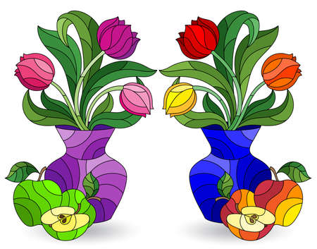 Set of illustrations in stained glass style with floral still lifes, Tulips flowers in vases isolated on a white background 일러스트