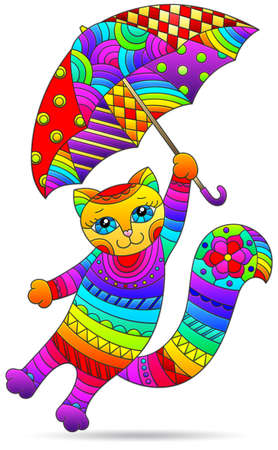Illustrations in a stained glass style with cute cartoon cat with umbrellas, animal isolated on a white background