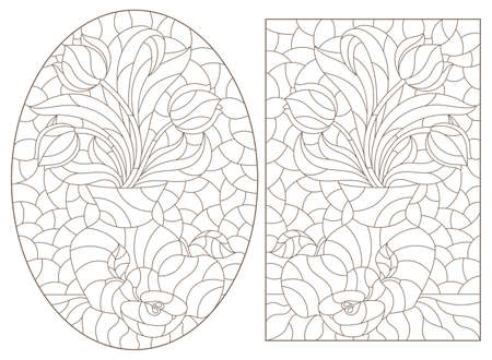 Set of contour illustrations with flower still lifes, tulips in vases and fruit, dark outlines on a white background 일러스트
