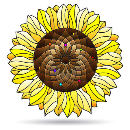 Illustration in stained glass style with abstract sunflower flower, flower isolated on white background 일러스트