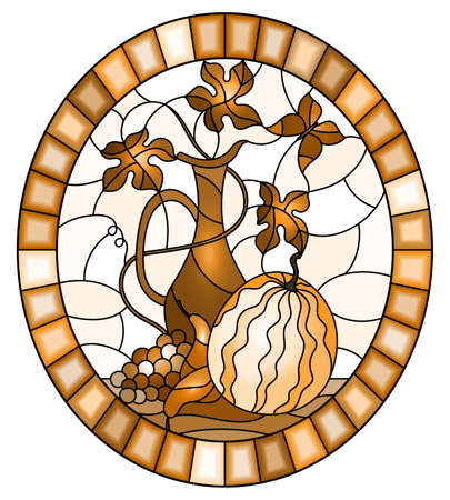 Illustration in stained glass style with still life, fruits, berries and melon on a light background, oval image in frame, monochrome, tone brown