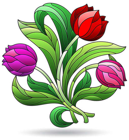 Illustration in stained glass style with a bouquet of tulip flowers, flowers isolated on a white background