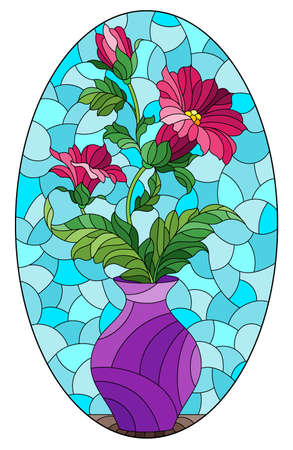 Illustration in the style of a stained glass window with a floral still life, a vase with pink flowers on a blue background, oval image