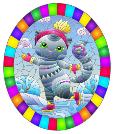 Stained glass illustration with a cute cartoon cat on skates against a winter landscape, oval image in bright frame