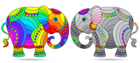 Set of stained glass elements with rainbow elephants, isolated images on white background