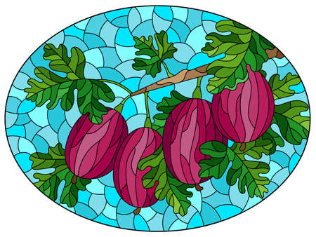 Illustration in the style of a stained glass window with a branch of ripe red gooseberries, berries and leaves on a blue background, oval image Ilustração