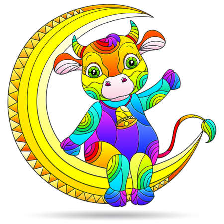 Illustrations in a stained glass style with cute cartoon bull on the moon, animal isolated on a white background