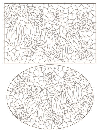Set of contour illustrations in the style of stained glass with gooseberry branches, dark outlines on a white background